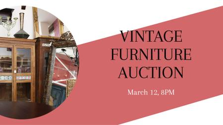 Vintage Furniture Shop Ad Antique Cupboards FB event coverデザインテンプレート