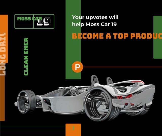 Ontwerpsjabloon van Facebook van Product Hunt Launch Ad Sports Car
