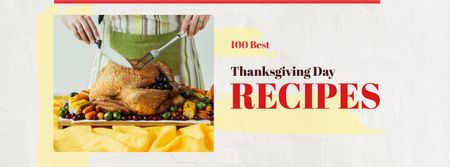 Ontwerpsjabloon van Facebook cover van Thanksgiving Recipes with Woman Cutting Roasted Turkey