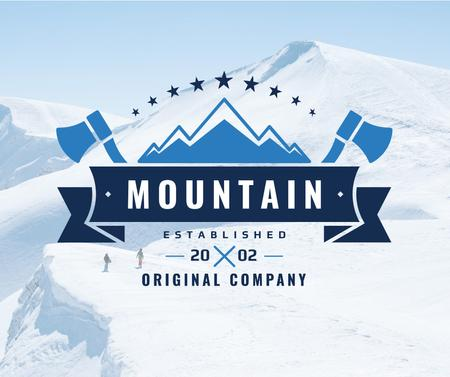 Ontwerpsjabloon van Facebook van Mountaineering Equipment Company Icon with Snowy Mountains