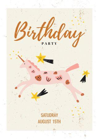 Birthday Party Announcement with Cute Unicorn Invitation – шаблон для дизайну