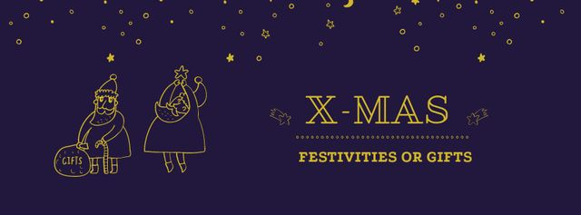 Christmas Festivities and Gifts with cute Santa Facebook coverデザインテンプレート