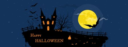 Halloween Celebration with Scary Ship Facebook cover Modelo de Design