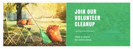 Plantilla de diseño de Rake and Garbage Bag in Garden for Cleanup Facebook cover