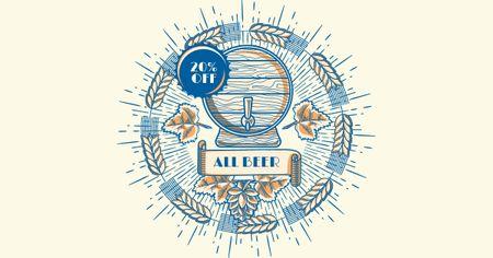 Brewery Ad Wooden Beer Barrel Facebook AD Modelo de Design