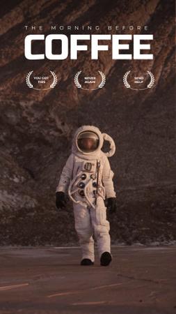Designvorlage Funny Lifestyle Inspiration with Astronaut für Instagram Video Story