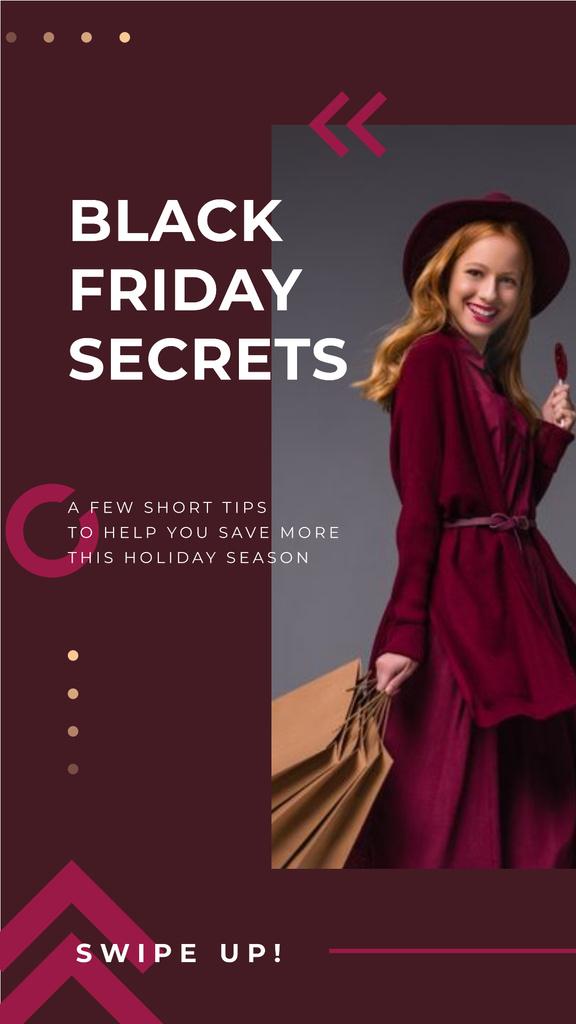 Black Friday Sale Young woman wearing purple clothes — Créer un visuel
