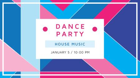 Dance Party Announcement with Abstract Pattern FB event cover Design Template