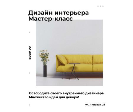 Interior decoration masterclass with Sofa in yellow Facebook – шаблон для дизайна