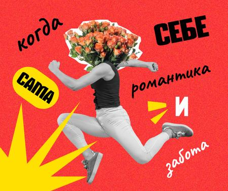Funny Illustration of Man with Floral Head Facebook – шаблон для дизайна