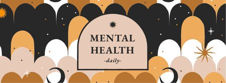 Mental Health Inspiration on bright pattern Facebook cover – шаблон для дизайна