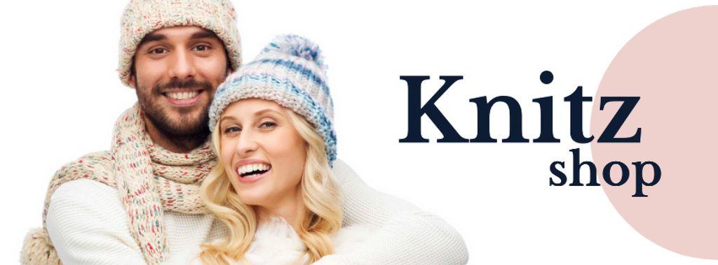 Knitwear store ad couple wearing Hats — Créer un visuel
