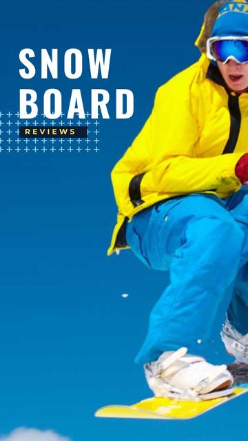 Ontwerpsjabloon van Instagram Story van Snowboard Reviews with Snowboarder
