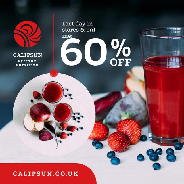 Designvorlage Healthy Nutrition Offer with Glass of Juice für Instagram