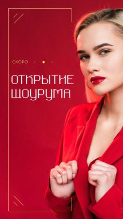 Stylish Woman in Red Outfit Instagram Video Story – шаблон для дизайна