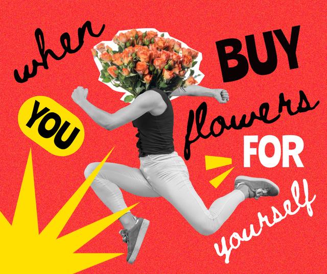 Funny Illustration of Man with Floral Head Facebook – шаблон для дизайну