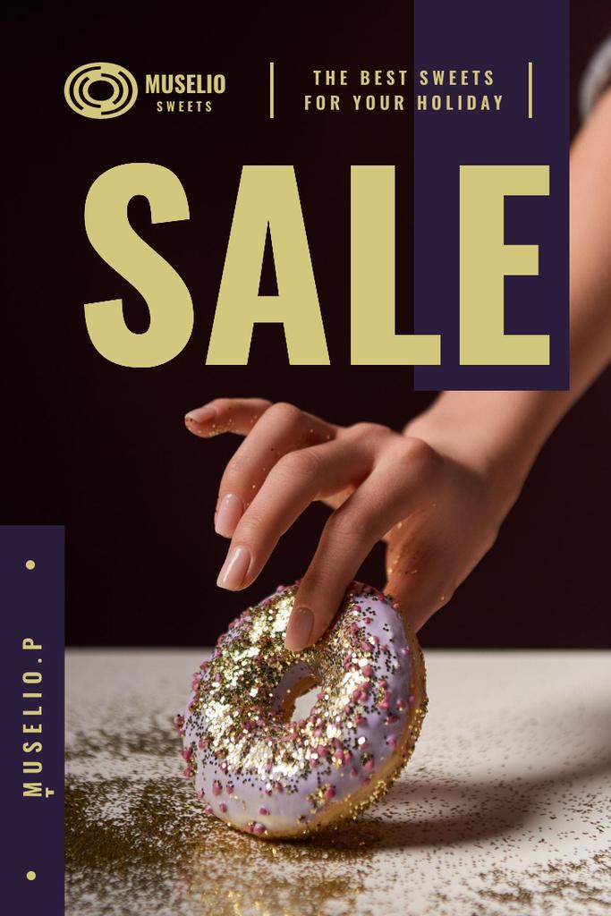 Bakery Offer with Woman Holding Doughnut Pinterest Design Template