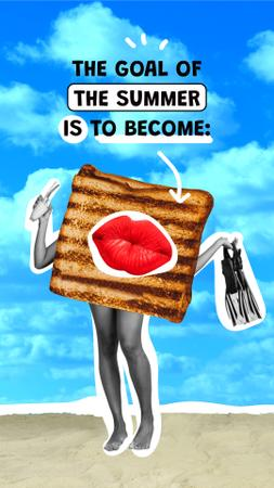 Designvorlage Funny Toast with Female Legs and Lips für Instagram Story