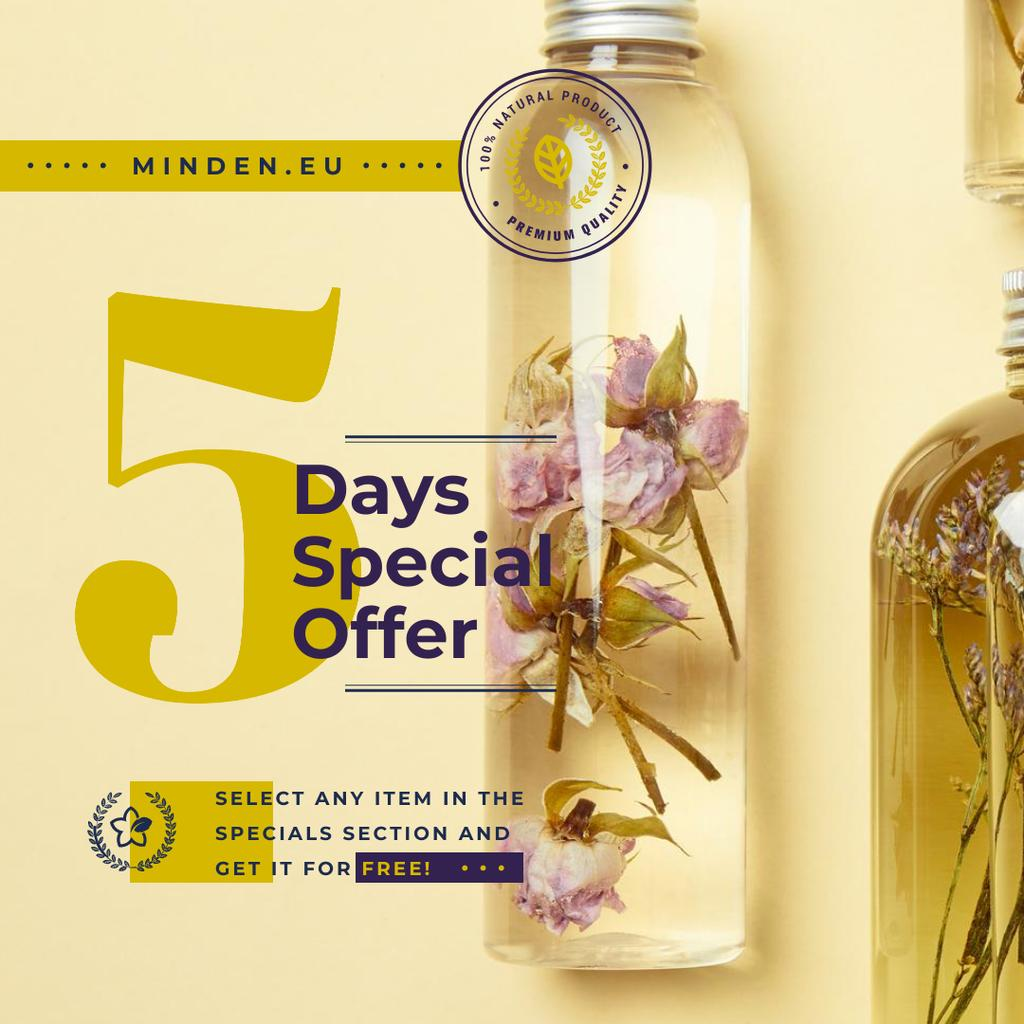Natural Cosmetics Products Flowers in Bottles — Crea un design