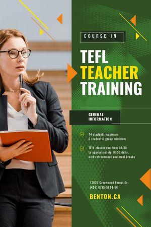 Education Event Announcement Woman with Folder Tumblr tervezősablon