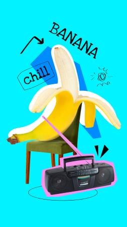 Funny Banana chilling with Retro Record Player Instagram Story – шаблон для дизайна