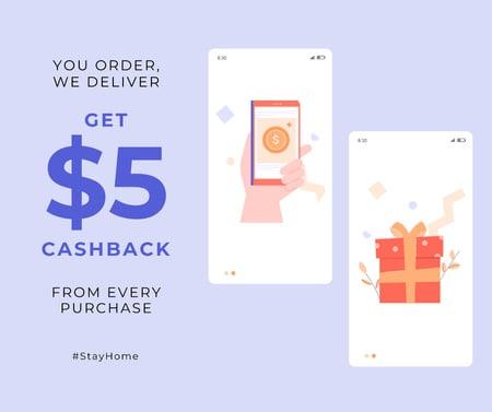 Plantilla de diseño de #StayHome Cashback services Screens with gifts Facebook