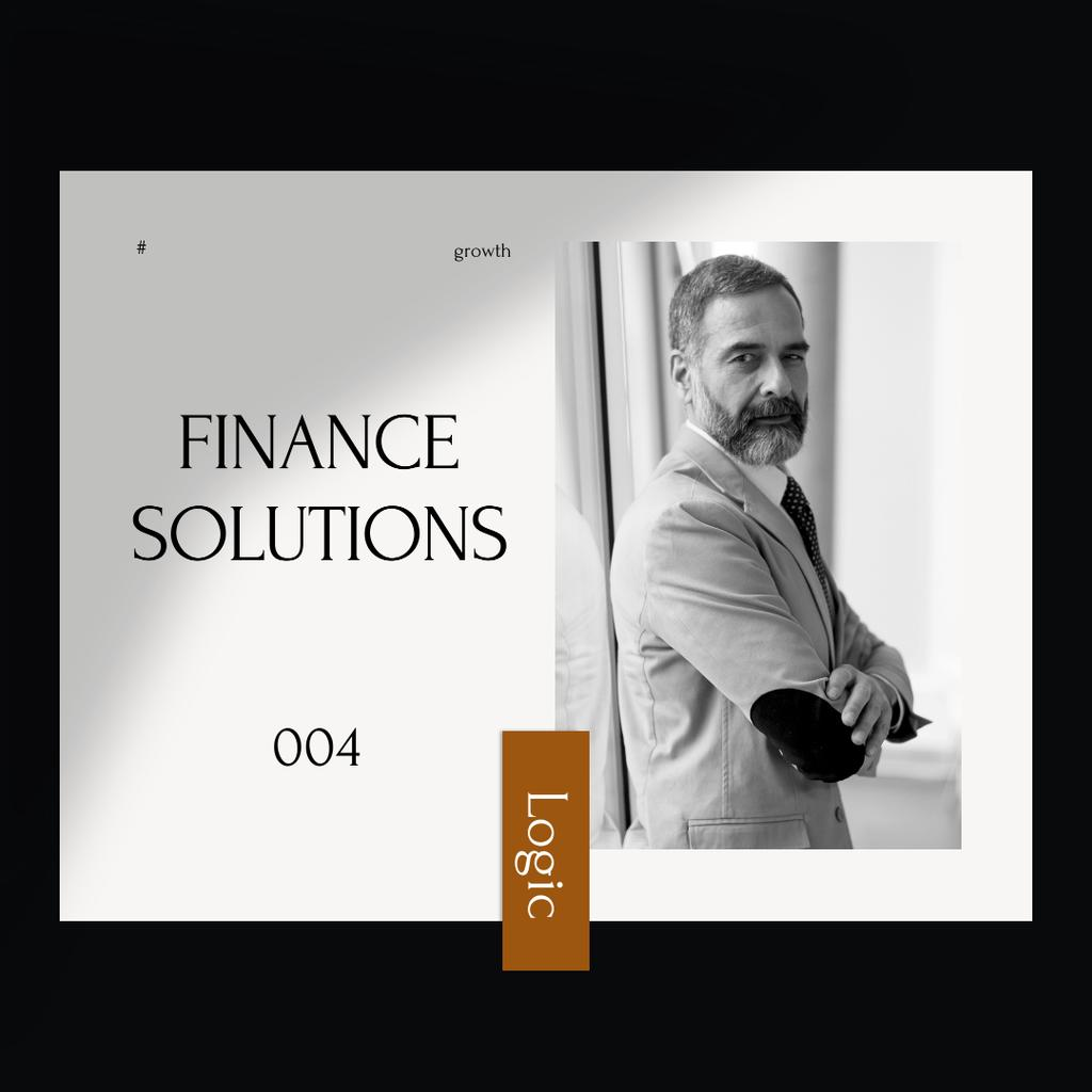 Confident Businessman for Finance Solutions Instagramデザインテンプレート