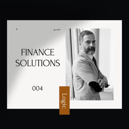Confident Businessman for Finance Solutions Instagram tervezősablon