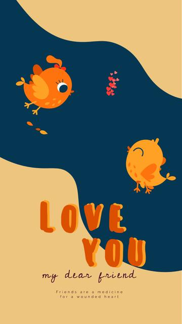 Two cute Birds in love on Valentine's day Instagram Video Story Modelo de Design
