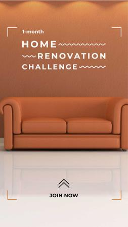 Home Renovation Ad with Stylish Sofa Instagram Story Modelo de Design