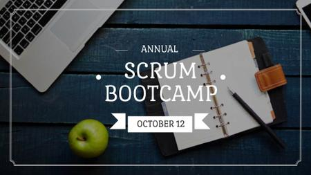 Modèle de visuel Scrum Bootcamp Ad with Laptop on Table - FB event cover