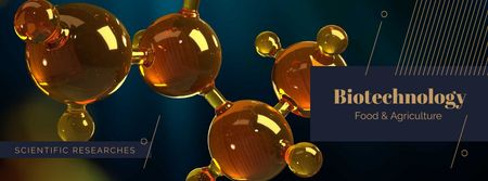 Chemical molecule model Facebook cover – шаблон для дизайна