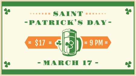 Ontwerpsjabloon van FB event cover van St.Patrick's Day Holiday Celebration with beer glass