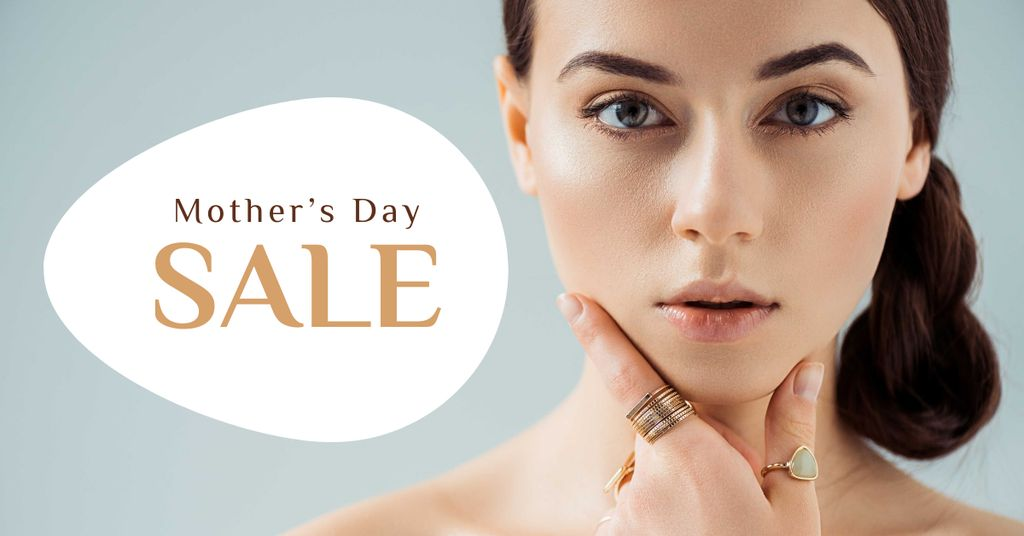Mother's Day Sale with Attractive Woman Facebook AD Design Template