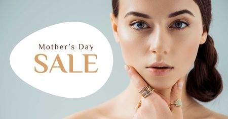 Mother's Day Sale with Attractive Woman Facebook AD Modelo de Design