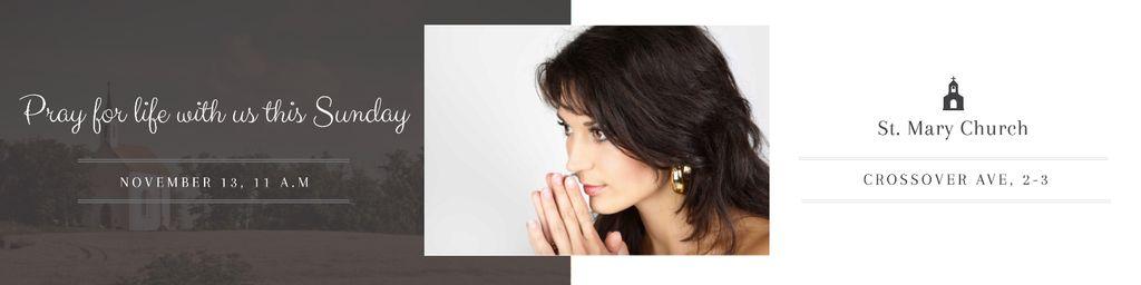 Ontwerpsjabloon van Twitter van Church Invitation with Praying Woman