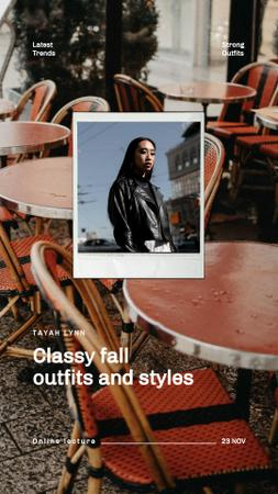 Fashion Ad with Woman in Autumn Leather Jacket Instagram Video Story Tasarım Şablonu