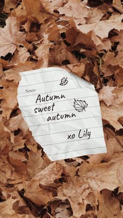 Plantilla de diseño de Autumn Inspiration with Paper Note on Foliage Instagram Story