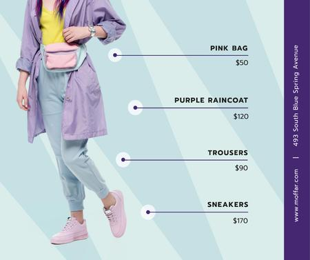 Fashion Ad Stylish Girl Wearing Raincoat Facebook Design Template
