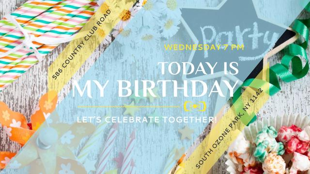 Birthday Party Invitation Bows and Ribbons FB event coverデザインテンプレート
