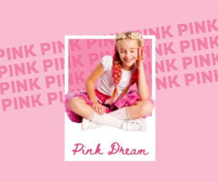 Cute Little Girl in Pink Outfit Medium Rectangle Modelo de Design