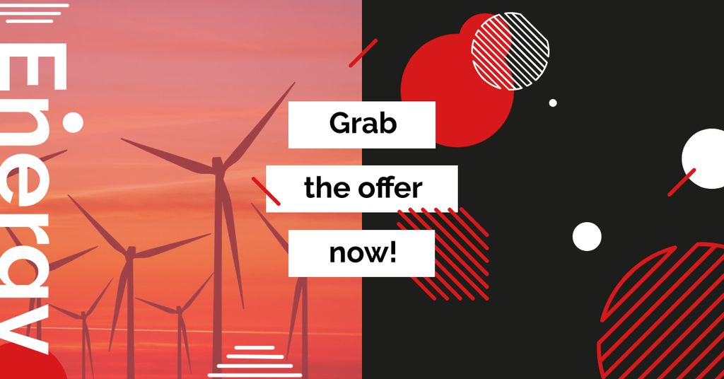 Ontwerpsjabloon van Facebook AD van Wind Turbines Farm on Red Sunset