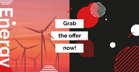 Plantilla de diseño de Wind Turbines Farm on Red Sunset Facebook AD