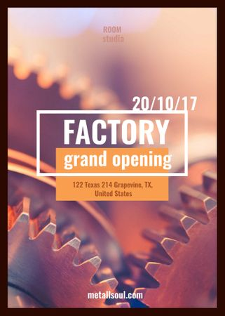 Factory Opening Announcement Mechanism Cogwheels Invitation Modelo de Design