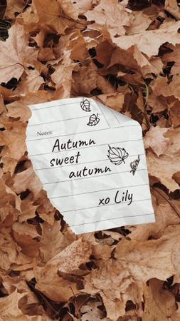 Autumn Inspiration with Paper Note on Foliage Instagram Video Story Modelo de Design