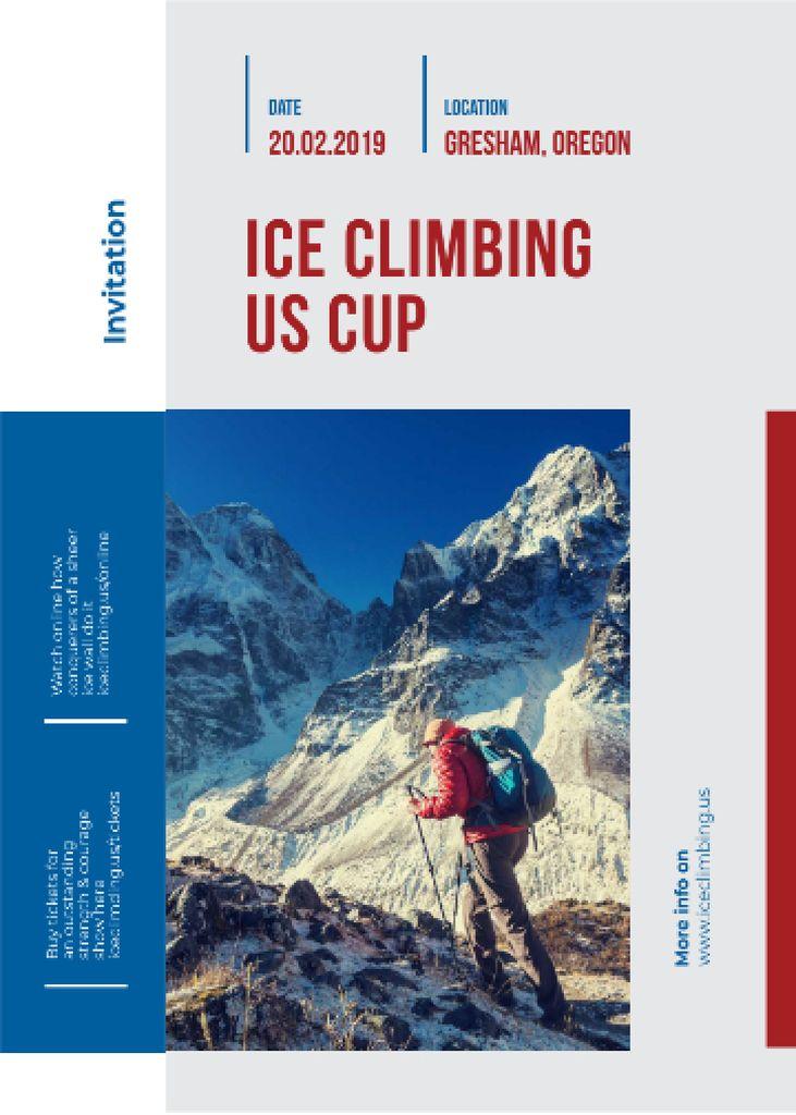 Tour Offer Climber Walking on Snowy Peak Invitation Design Template
