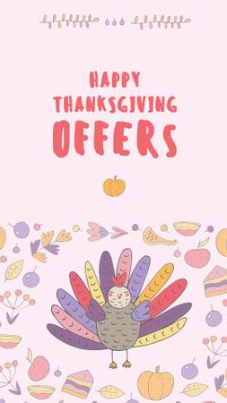 Ontwerpsjabloon van Instagram Story van Thanksgiving Offers Ad with Funny Turkey