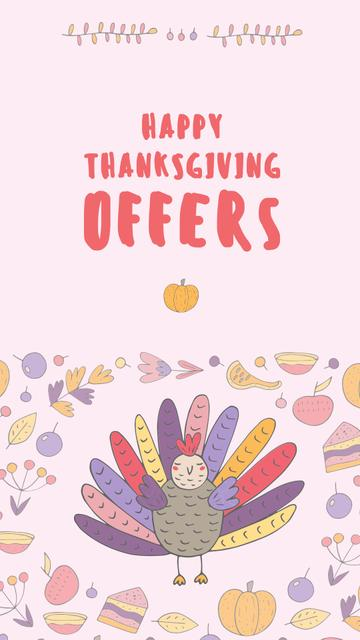 Thanksgiving Offers Ad with Funny Turkey Instagram Story – шаблон для дизайну