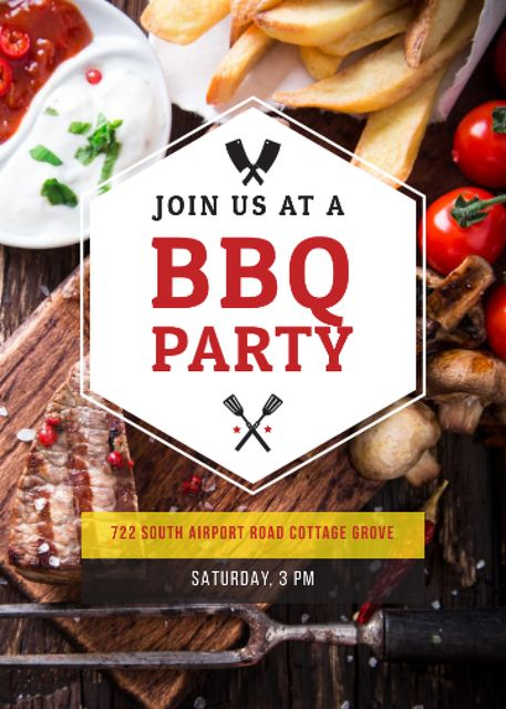 Ontwerpsjabloon van Invitation van BBQ Party Invitation with Grilled Steak