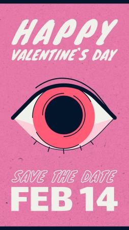 Plantilla de diseño de Lover's reflection in the eye on Valentine's Day Instagram Video Story